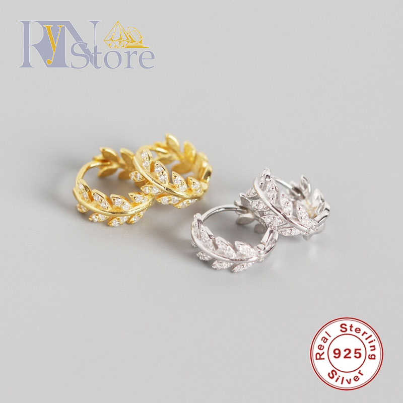 Earrings Gold and Silver olive leaf Zircon